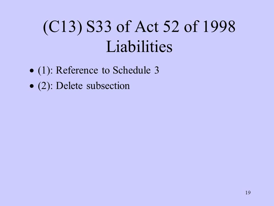 19 (C13) S33 of Act 52 of 1998 Liabilities  (1): Reference to Schedule 3  (2): Delete subsection