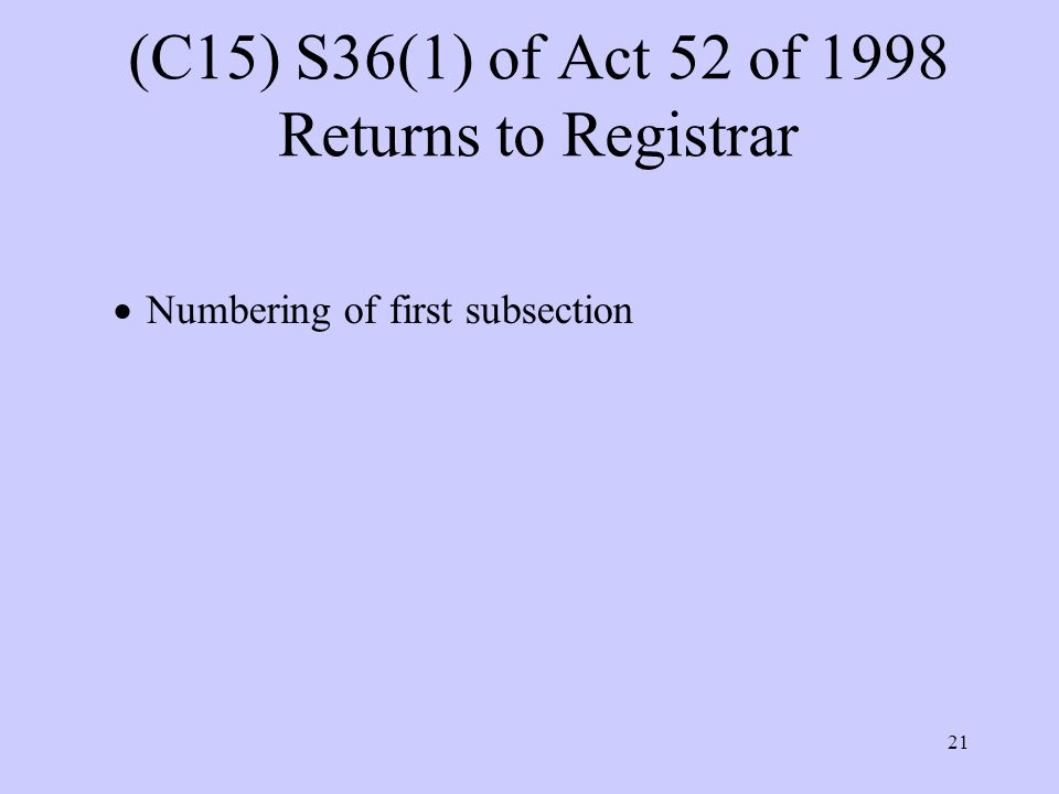 21 (C15) S36(1) of Act 52 of 1998 Returns to Registrar  Numbering of first subsection