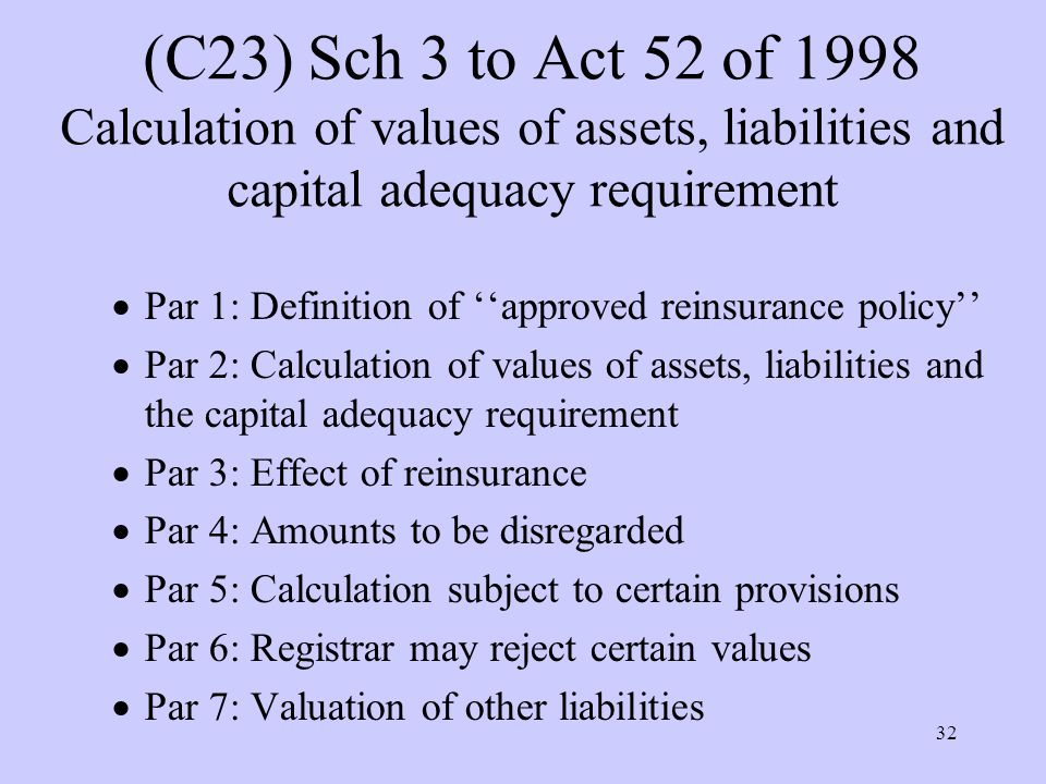 32 (C23) Sch 3 to Act 52 of 1998 Calculation of values of assets, liabilities and capital adequacy requirement  Par 1: Definition of ''approved reinsurance policy''  Par 2: Calculation of values of assets, liabilities and the capital adequacy requirement  Par 3: Effect of reinsurance  Par 4: Amounts to be disregarded  Par 5: Calculation subject to certain provisions  Par 6: Registrar may reject certain values  Par 7: Valuation of other liabilities