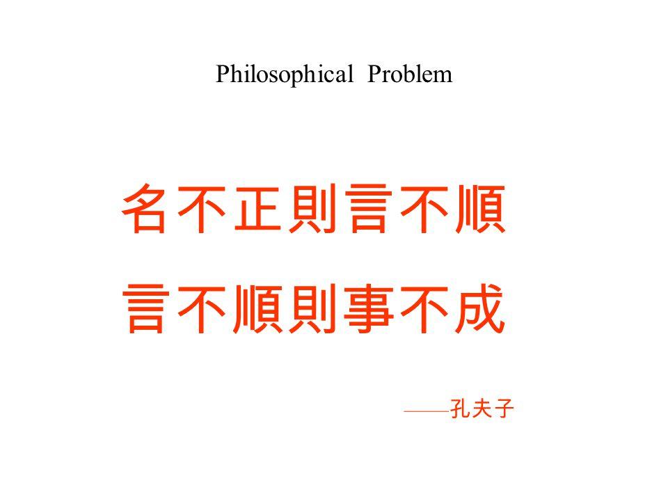 Philosophical Problem 名不正則言不順 言不順則事不成 —— 孔夫子