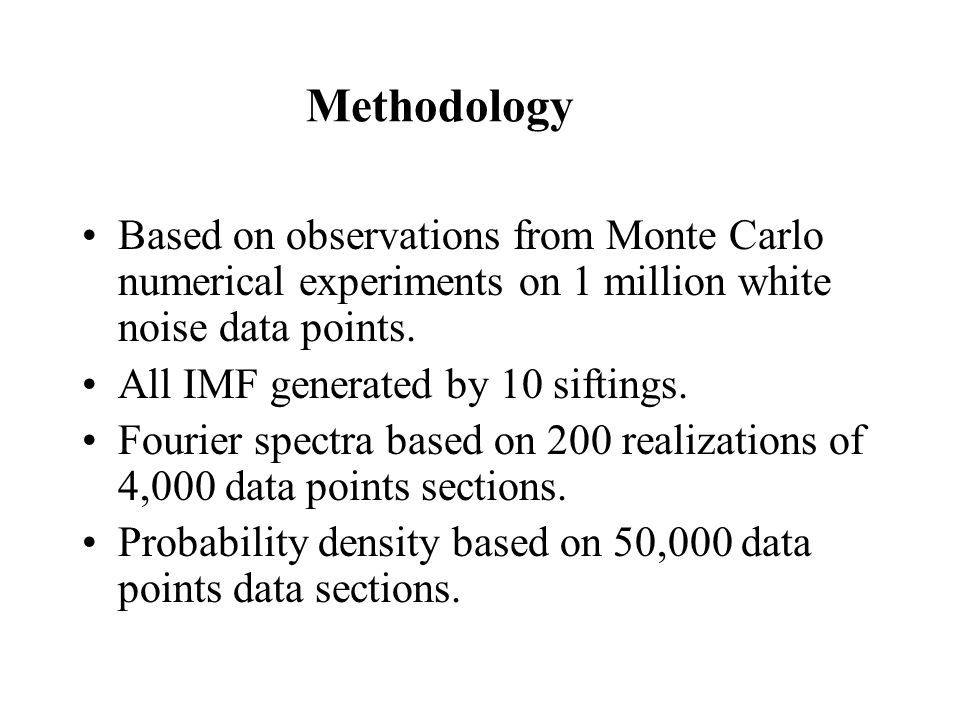 Methodology Based on observations from Monte Carlo numerical experiments on 1 million white noise data points.