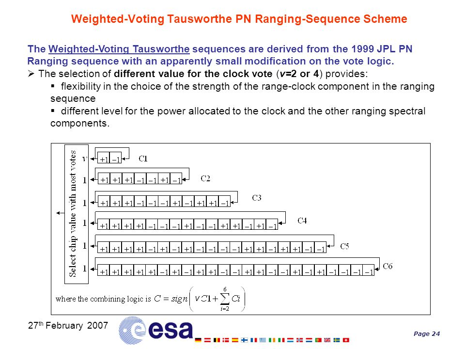 Page 24 27 th February 2007 Weighted-Voting Tausworthe PN Ranging-Sequence Scheme The Weighted-Voting Tausworthe sequences are derived from the 1999 J