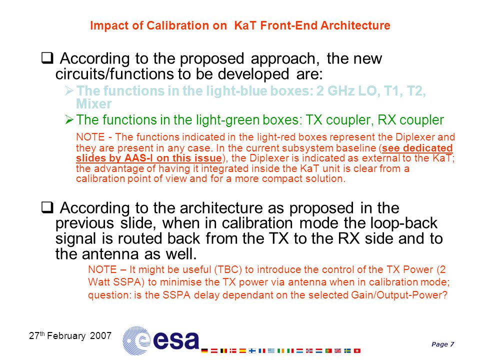 Page 7 27 th February 2007 Impact of Calibration on KaT Front-End Architecture  According to the proposed approach, the new circuits/functions to be