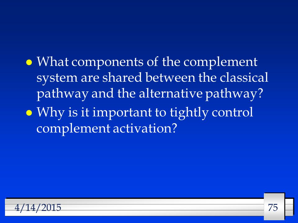 75 4/14/2015 l What components of the complement system are shared between the classical pathway and the alternative pathway.
