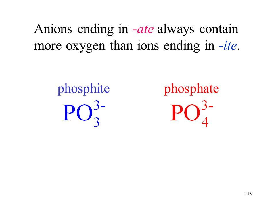 119 Anions ending in -ate always contain more oxygen than ions ending in -ite. phosphatephosphite