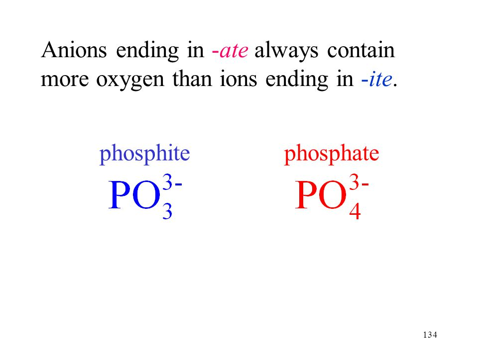 134 Anions ending in -ate always contain more oxygen than ions ending in -ite. phosphatephosphite