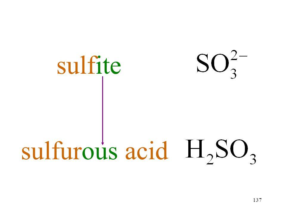 137 sulfite sulfurous acid