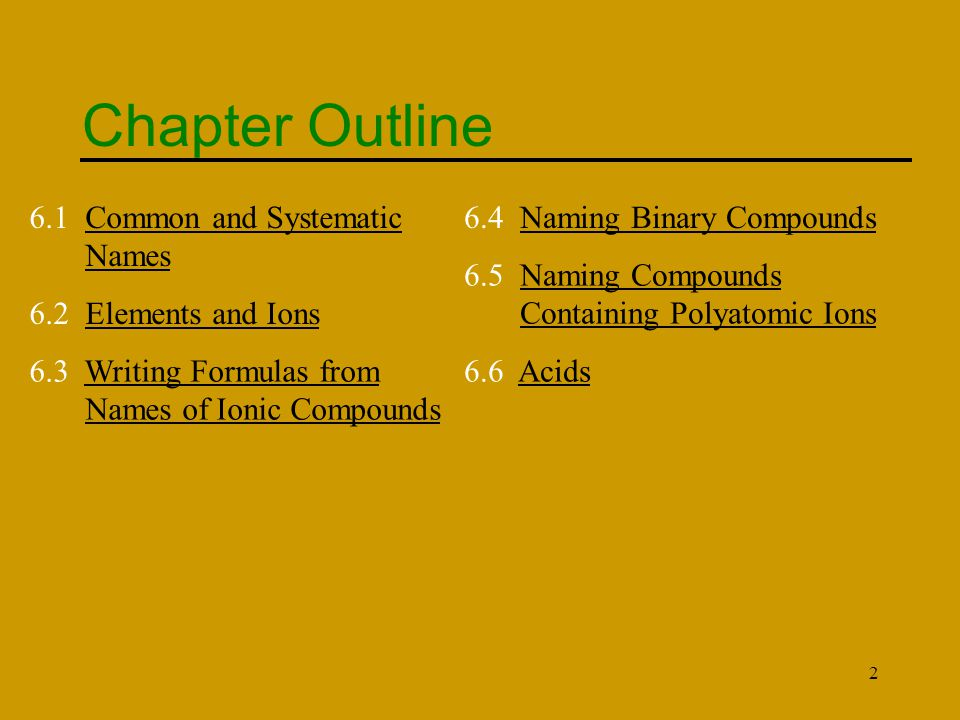 2 Chapter Outline 6.1 Common and Systematic NamesCommon and SystematicNames 6.2 Elements and IonsElements and Ions 6.3 Writing Formulas from Names of Ionic CompoundsWriting Formulas fromNames of Ionic Compounds 6.4 Naming Binary CompoundsNaming Binary Compounds 6.5 Naming Compounds Containing Polyatomic IonsNaming CompoundsContaining Polyatomic Ions 6.6 AcidsAcids