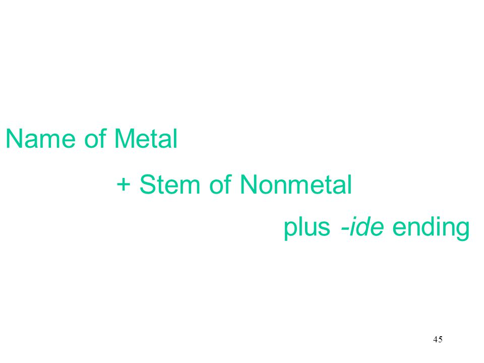 45 Name of Metal + Stem of Nonmetal plus -ide ending