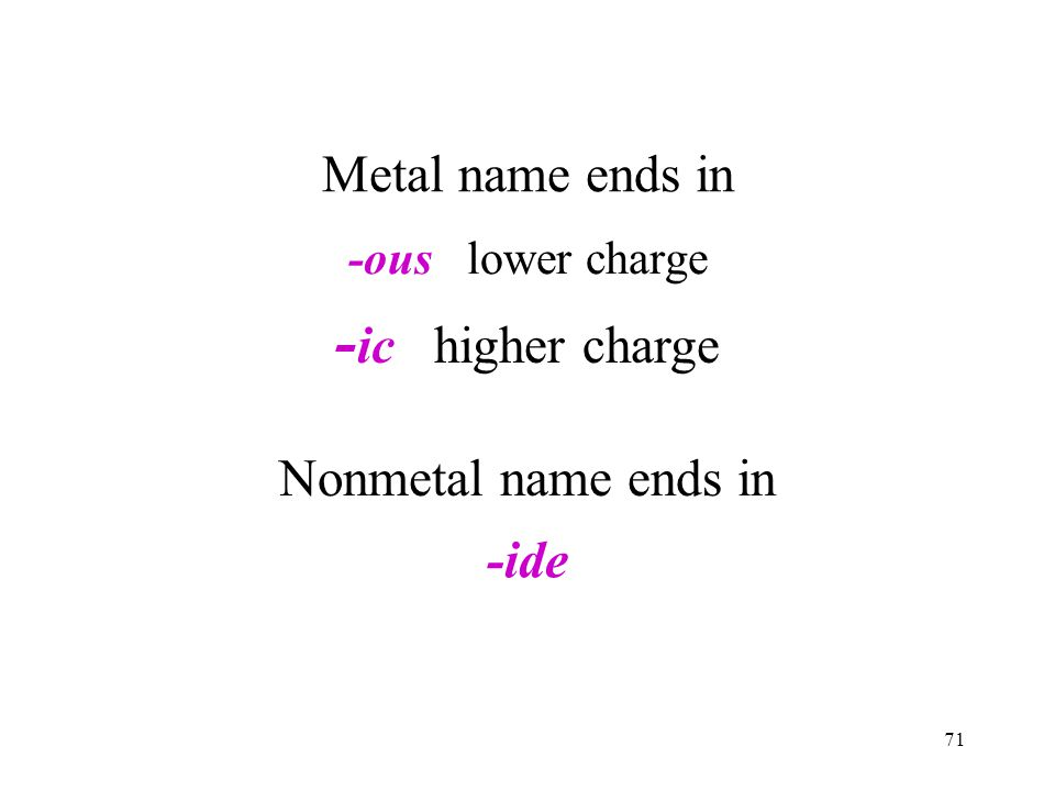 71 -ous lower charge - ic higher charge Metal name ends in Nonmetal name ends in -ide