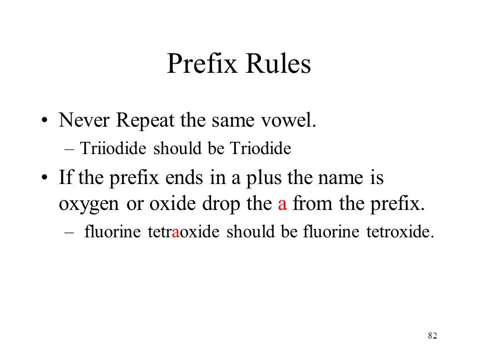 Prefix Rules Never Repeat the same vowel.
