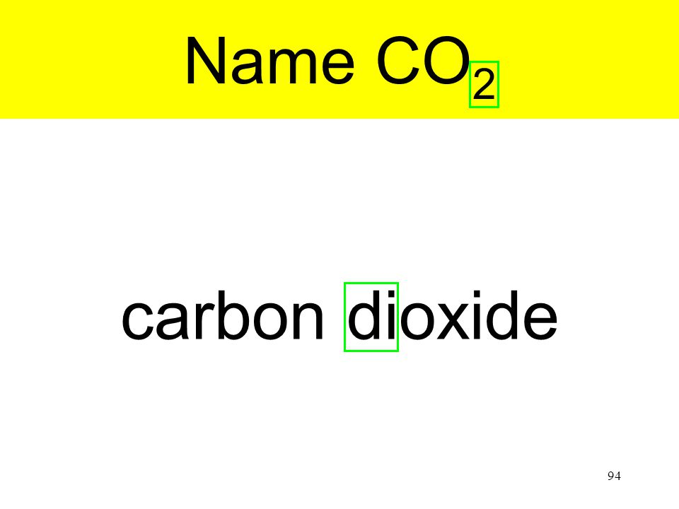 94 carbon dioxide Name CO 2