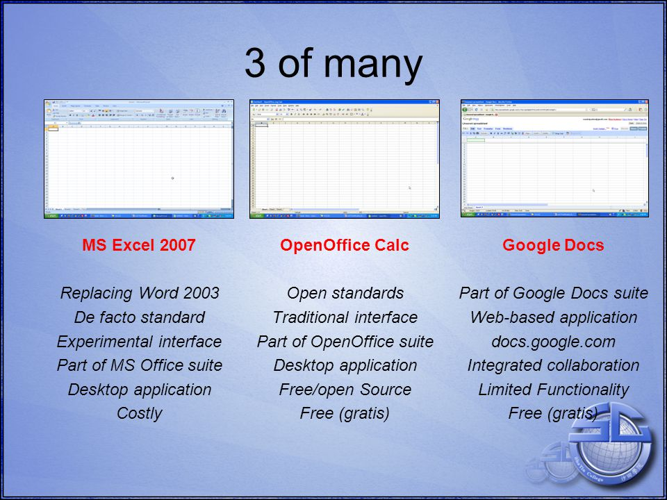 MS EXCEL 2007, OPENOFFICE CALC, GOOGLE DOCS Basics