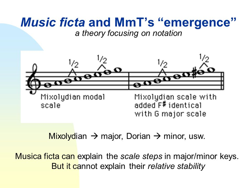 """Music ficta and MmT's """"emergence"""" a theory focusing on notation Mixolydian  major, Dorian  minor, usw. Musica ficta can explain the scale steps in m"""