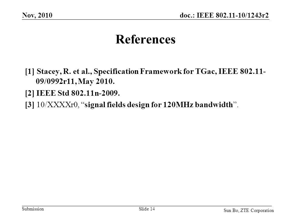doc.: IEEE 802.11-10/1243r2 Submission References [1] Stacey, R. et al., Specification Framework for TGac, IEEE 802.11- 09/0992r11, May 2010. [2] IEEE
