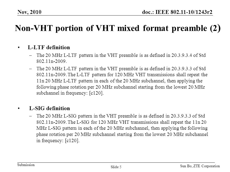doc.: IEEE 802.11-10/1243r2 Submission Non-VHT portion of VHT mixed format preamble (2 ) L-LTF definition –The 20 MHz L-LTF pattern in the VHT preambl