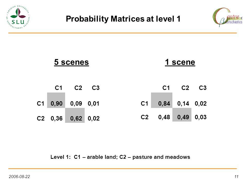 2006-08-2211 Probability Matrices at level 1 C1C2C3 C10,900,090,01 C20,360,620,02 C1C2C3 C10,840,140,02 C20,480,490,03 5 scenes1 scene Level 1: C1 – arable land; C2 – pasture and meadows