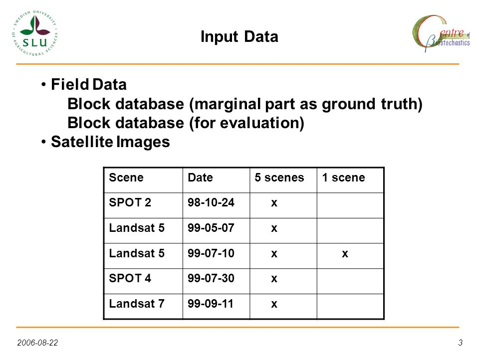3 Input Data Field Data Block database (marginal part as ground truth) Block database (for evaluation) Satellite Images SceneDate5 scenes1 scene SPOT 298-10-24 x Landsat 599-05-07 x Landsat 599-07-10 x x SPOT 499-07-30 x Landsat 799-09-11 x