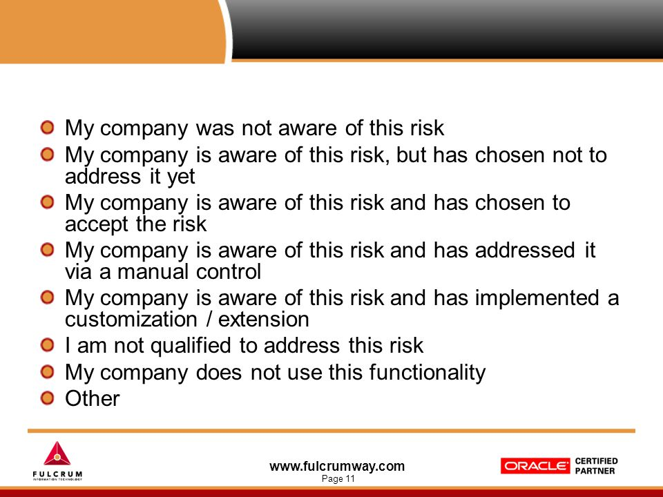 www.fulcrumway.com Page 11 My company was not aware of this risk My company is aware of this risk, but has chosen not to address it yet My company is