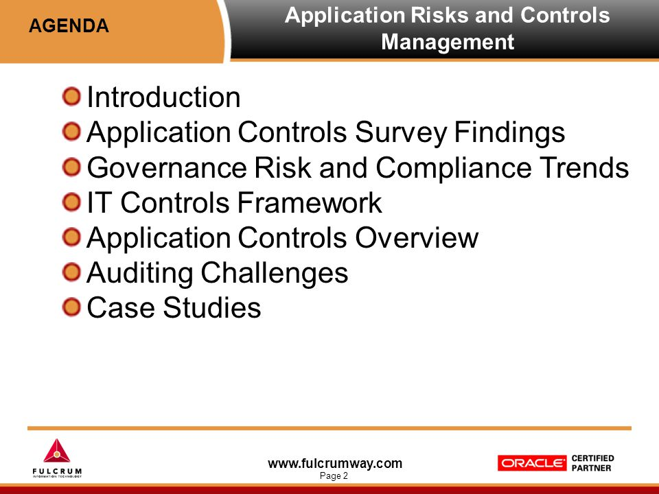 www.fulcrumway.com Page 2 Application Risks and Controls Management Introduction Application Controls Survey Findings Governance Risk and Compliance T