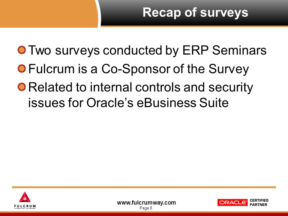 www.fulcrumway.com Page 9 Recap of surveys: Demographics Cross representation of industries Representing various sales levels from Under $100 million to over $5 billion Generally over 250 users ranging to many respondents over 5000 users Most common roles range from IT management, business analysts, and internal audit/corporate governance