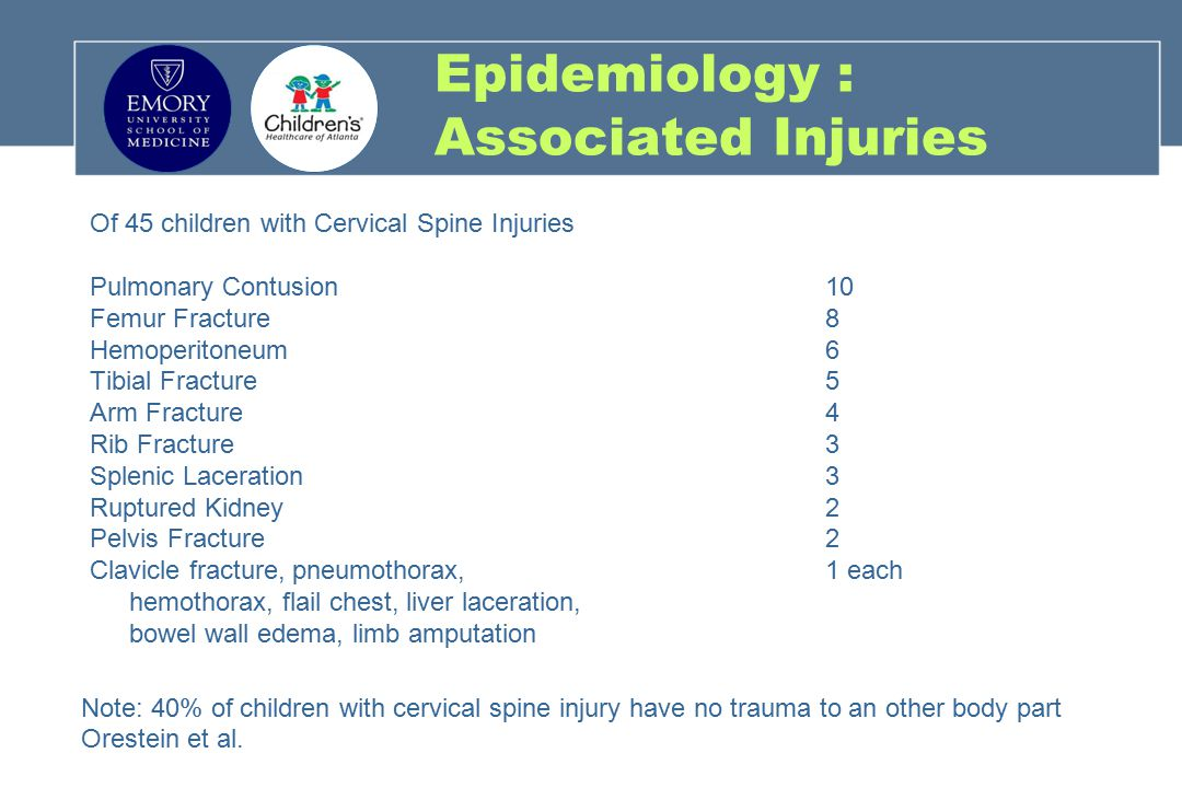 NEXUS : Study Results Of 3,065 children enrolled, 30 had c-spine injuries (0.98%) All children with c-spine injuries were prospectively classified as being in the high-risk group No child from the low-risk group had a c-spine injury