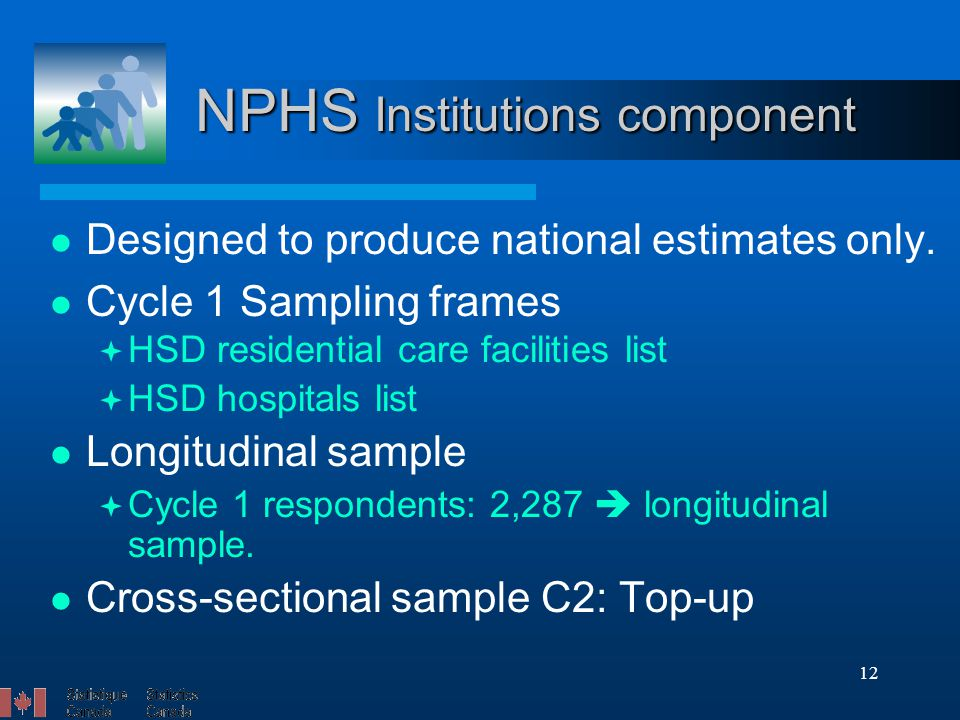 12 NPHS Institutions component Designed to produce national estimates only.