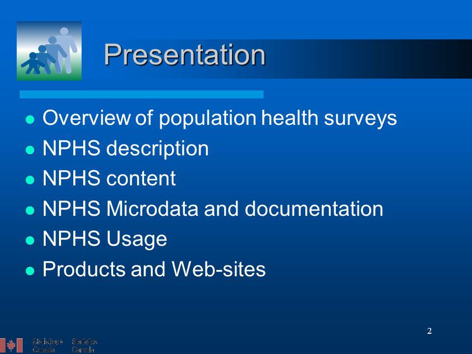 2 Presentation Overview of population health surveys NPHS description NPHS content NPHS Microdata and documentation NPHS Usage Products and Web-sites