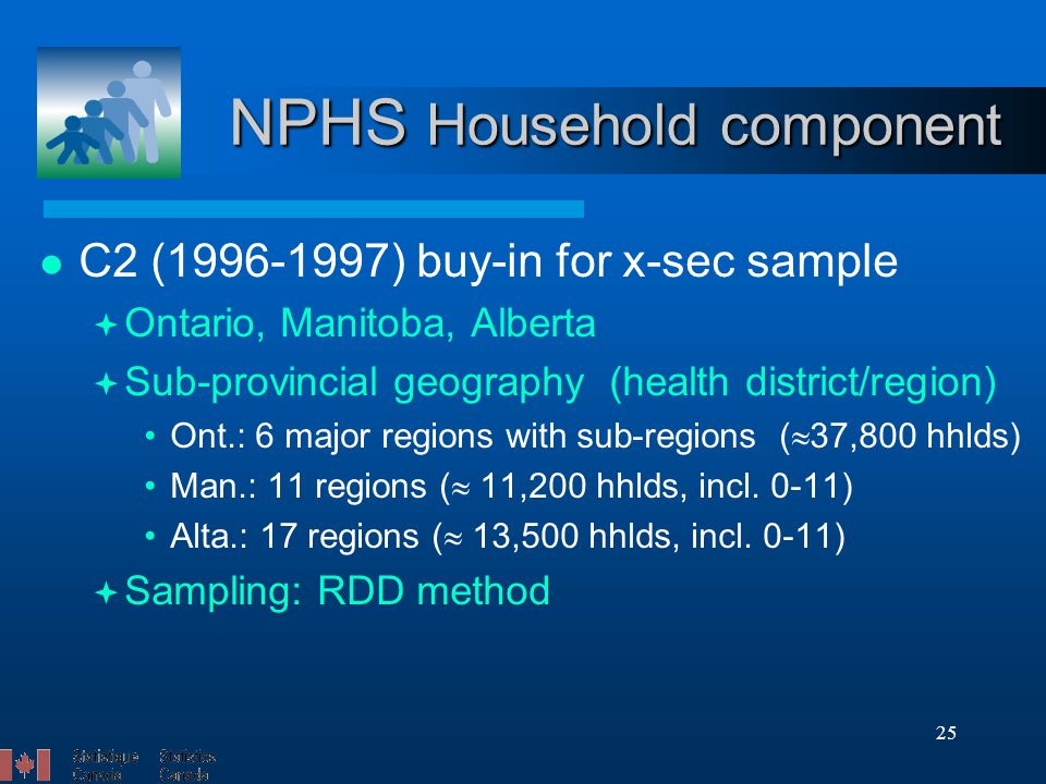 25 NPHS Household component C2 (1996-1997) buy-in for x-sec sample  Ontario, Manitoba, Alberta  Sub-provincial geography (health district/region) Ont.: 6 major regions with sub-regions (  37,800 hhlds) Man.: 11 regions (  11,200 hhlds, incl.