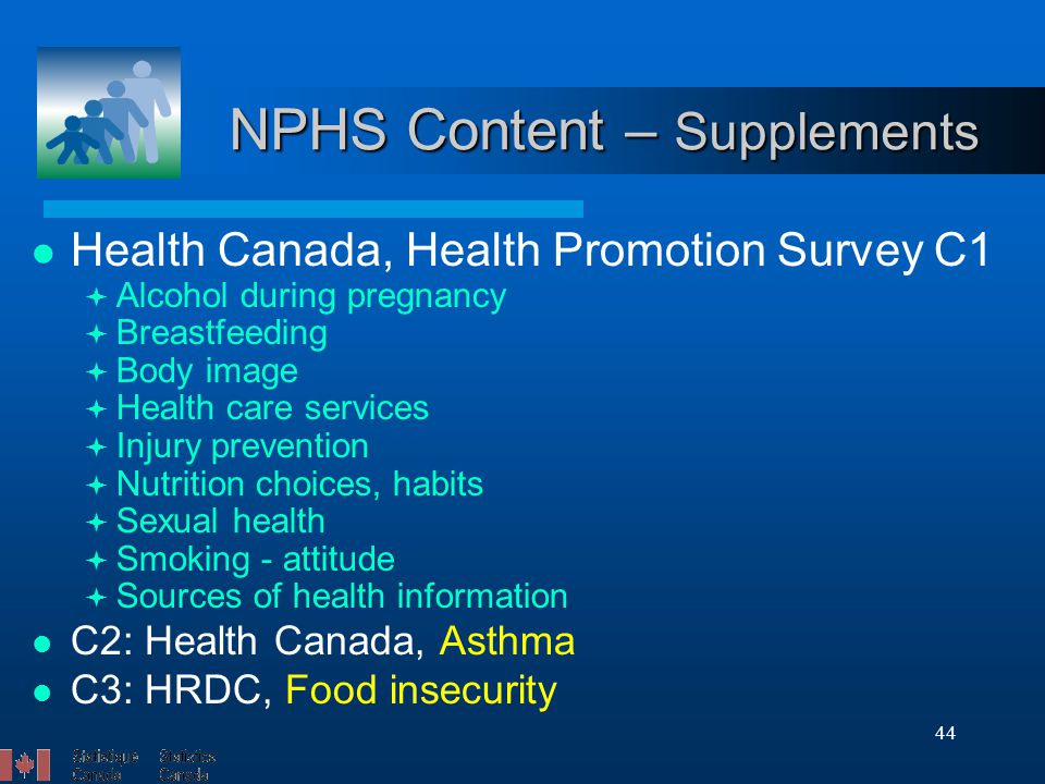 44 NPHS Content – Supplements Health Canada, Health Promotion Survey C1  Alcohol during pregnancy  Breastfeeding  Body image  Health care services  Injury prevention  Nutrition choices, habits  Sexual health  Smoking - attitude  Sources of health information C2: Health Canada, Asthma C3: HRDC, Food insecurity