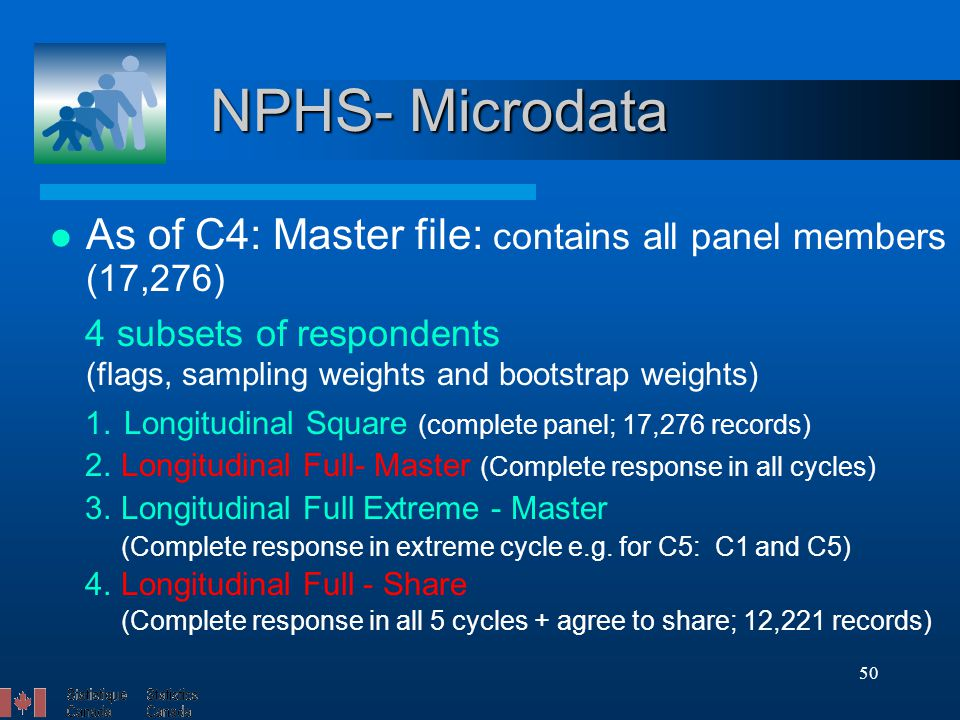 50 NPHS- Microdata As of C4: Master file: contains all panel members (17,276) 4 subsets of respondents (flags, sampling weights and bootstrap weights) 1.
