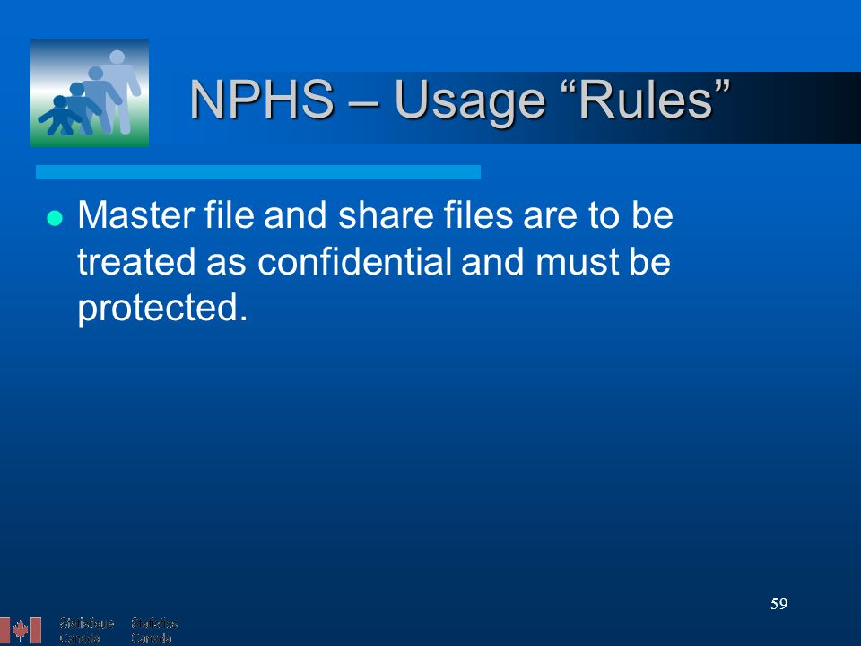 59 NPHS – Usage Rules Master file and share files are to be treated as confidential and must be protected.