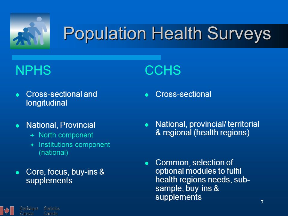 7 Population Health Surveys NPHS Cross-sectional and longitudinal National, Provincial  North component  Institutions component (national) Core, focus, buy-ins & supplements CCHS Cross-sectional National, provincial/ territorial & regional (health regions) Common, selection of optional modules to fulfil health regions needs, sub- sample, buy-ins & supplements