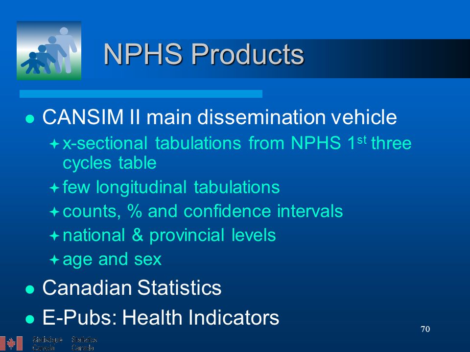 70 NPHS Products CANSIM II main dissemination vehicle  x-sectional tabulations from NPHS 1 st three cycles table  few longitudinal tabulations  counts, % and confidence intervals  national & provincial levels  age and sex Canadian Statistics E-Pubs: Health Indicators
