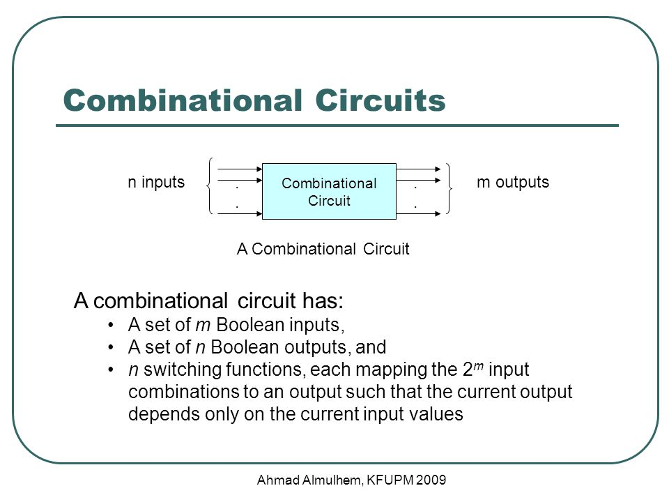 Example 3: BCD to 7 Segment Display Controller (Specification) Step 1: Specify the inputs and the outputs for the circuit 4 inputs (A, B, C, D) 7 outputs (c0, c1, c2, c3, c4, c5, c6) Invalid inputs (BCD greater than 1001) will turn off all display LEDs (all zeroes) Ahmad Almulhem, KFUPM 2009