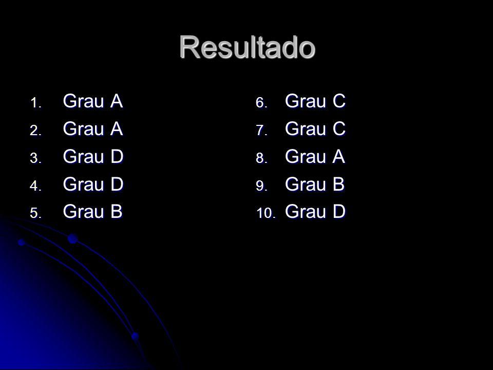 Resultado 1. Grau A 2. Grau A 3. Grau D 4. Grau D 5.