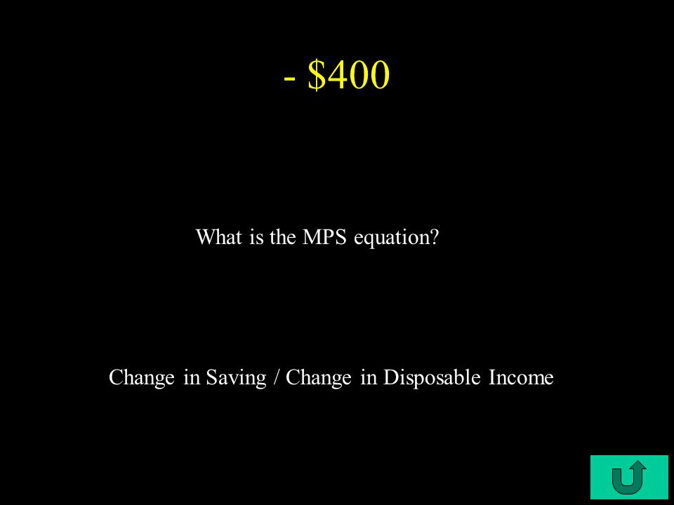 C3-$400 - $300 What is the MPC equation? Change in Consumption / Change in Disposable Income