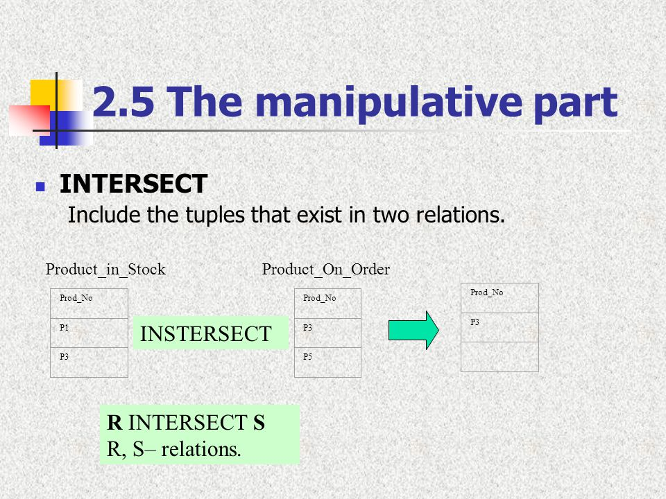 2.5 The manipulative part INTERSECT Include the tuples that exist in two relations. R INTERSECT S R, S– relations. Product_in_Stock Prod_No P1 P3 Prod