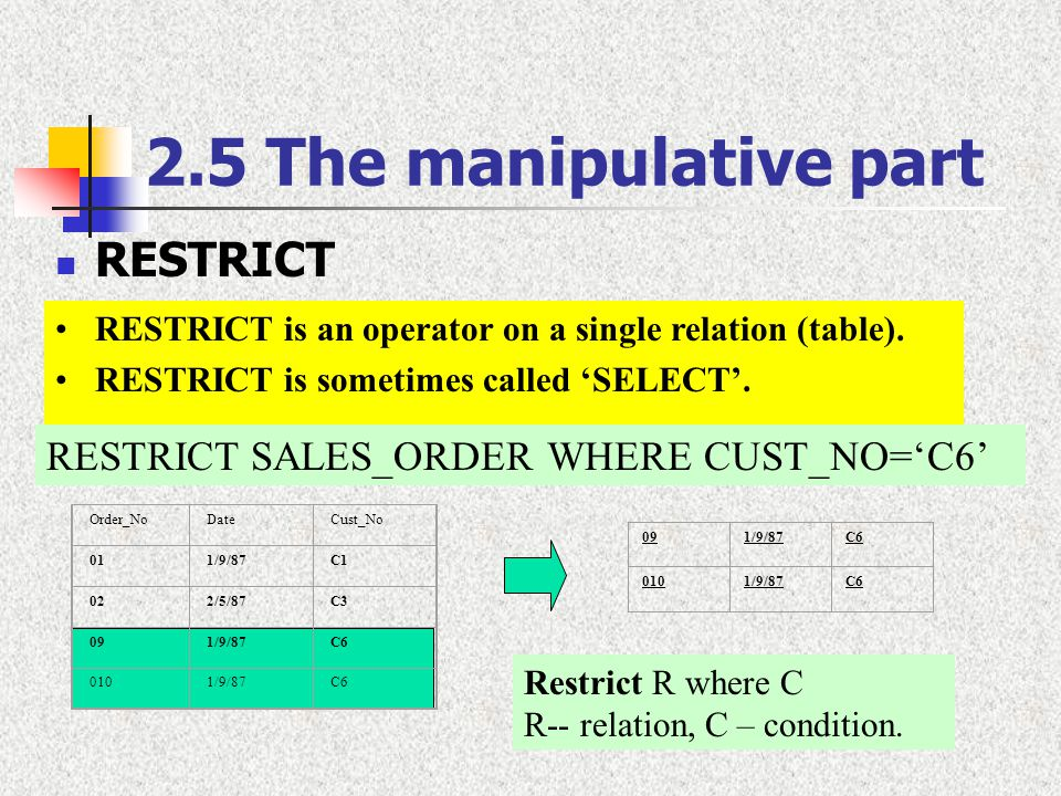2.5 The manipulative part RESTRICT RESTRICT is an operator on a single relation (table). RESTRICT is sometimes called 'SELECT'. RESTRICT SALES_ORDER W