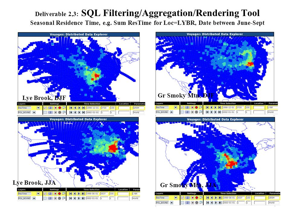 Deliverable 2,3: SQL Filtering/Aggregation/Rendering Tool Testing the ATAD Trajectory and Residence Time Data Consistency Residence time and ATAD trajectory data superimposed for June 1, 2000.