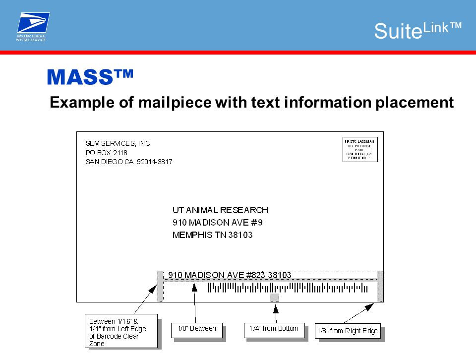 Example of mailpiece with text information placement MASS™ Suite Link™