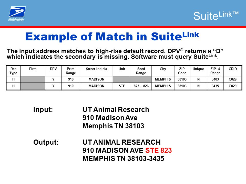 Example of Match in Suite Link Input: UT Animal Research 910 Madison Ave Memphis TN 38103 Output:UT ANIMAL RESEARCH 910 MADISON AVE STE 823 MEMPHIS TN 38103-3435 The input address matches to high-rise default record.