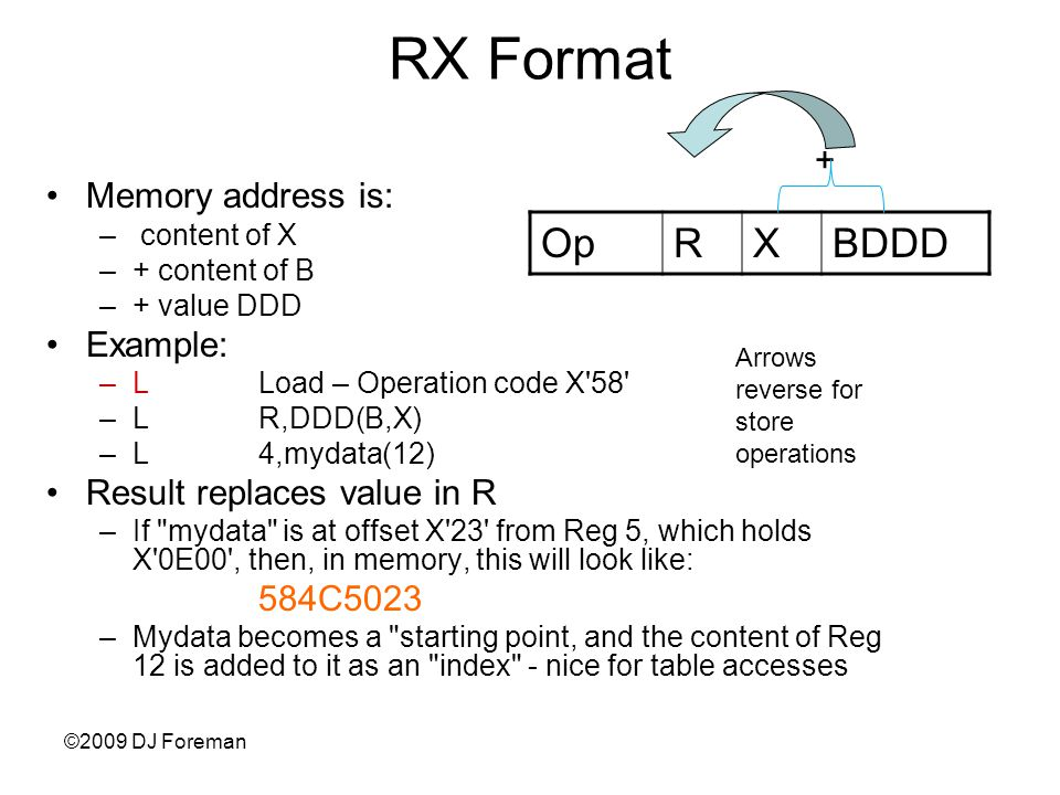 Memory address is: – content of X –+ content of B –+ value DDD Example: –LLoad – Operation code X 58 –LR,DDD(B,X) –L4,mydata(12) Result replaces value in R –If mydata is at offset X 23 from Reg 5, which holds X 0E00 , then, in memory, this will look like: 584C5023 –Mydata becomes a starting point, and the content of Reg 12 is added to it as an index - nice for table accesses ©2009 DJ Foreman RX Format OpRXBDDD + Arrows reverse for store operations