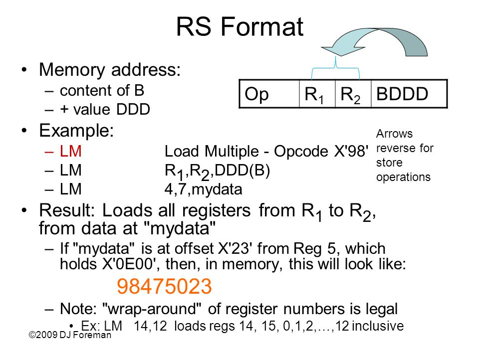 ©2009 DJ Foreman RS Format Memory address: –content of B –+ value DDD Example: –LMLoad Multiple - Opcode X 98 –LMR 1,R 2,DDD(B) –LM4,7,mydata Result: Loads all registers from R 1 to R 2, from data at mydata –If mydata is at offset X 23 from Reg 5, which holds X 0E00 , then, in memory, this will look like: 98475023 –Note: wrap-around of register numbers is legal Ex: LM 14,12 loads regs 14, 15, 0,1,2,…,12 inclusive OpR1R1 R2R2 BDDD Arrows reverse for store operations