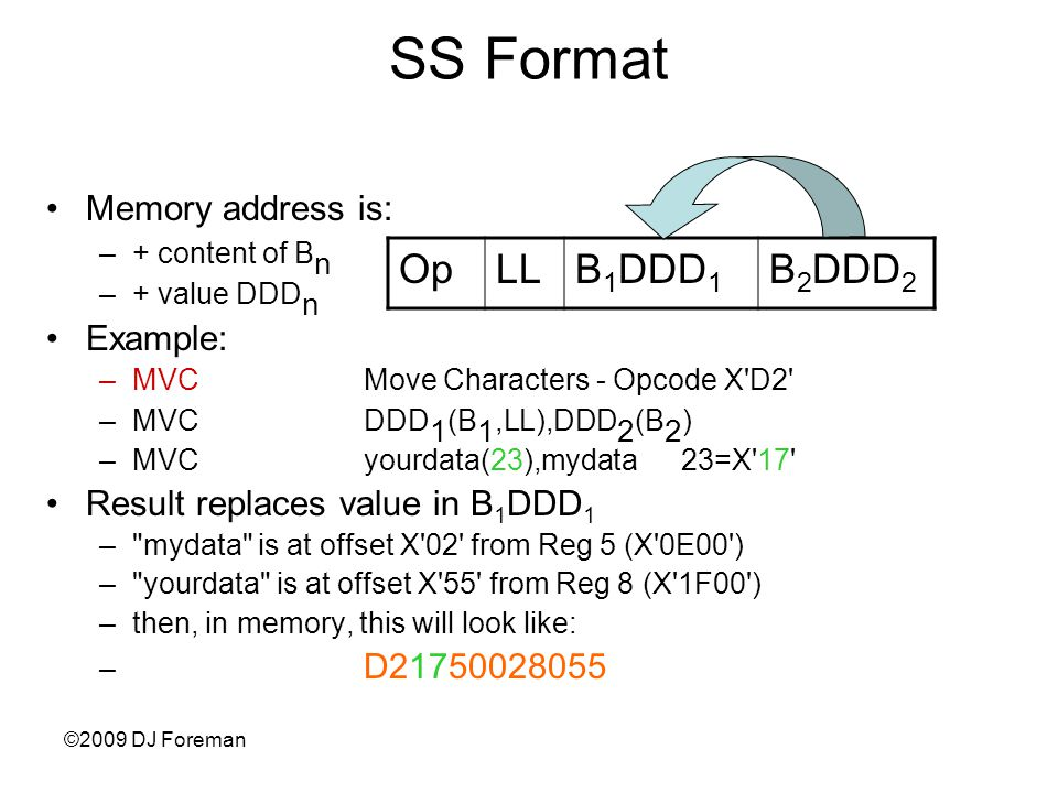 ©2009 DJ Foreman SS Format Memory address is: –+ content of B n –+ value DDD n Example: –MVC Move Characters - Opcode X D2 –MVCDDD 1 (B 1,LL),DDD 2 (B 2 ) –MVCyourdata(23),mydata23=X 17 Result replaces value in B 1 DDD 1 – mydata is at offset X 02 from Reg 5 (X 0E00 ) – yourdata is at offset X 55 from Reg 8 (X 1F00 ) –then, in memory, this will look like: – D21750028055 OpLLB 1 DDD 1 B 2 DDD 2