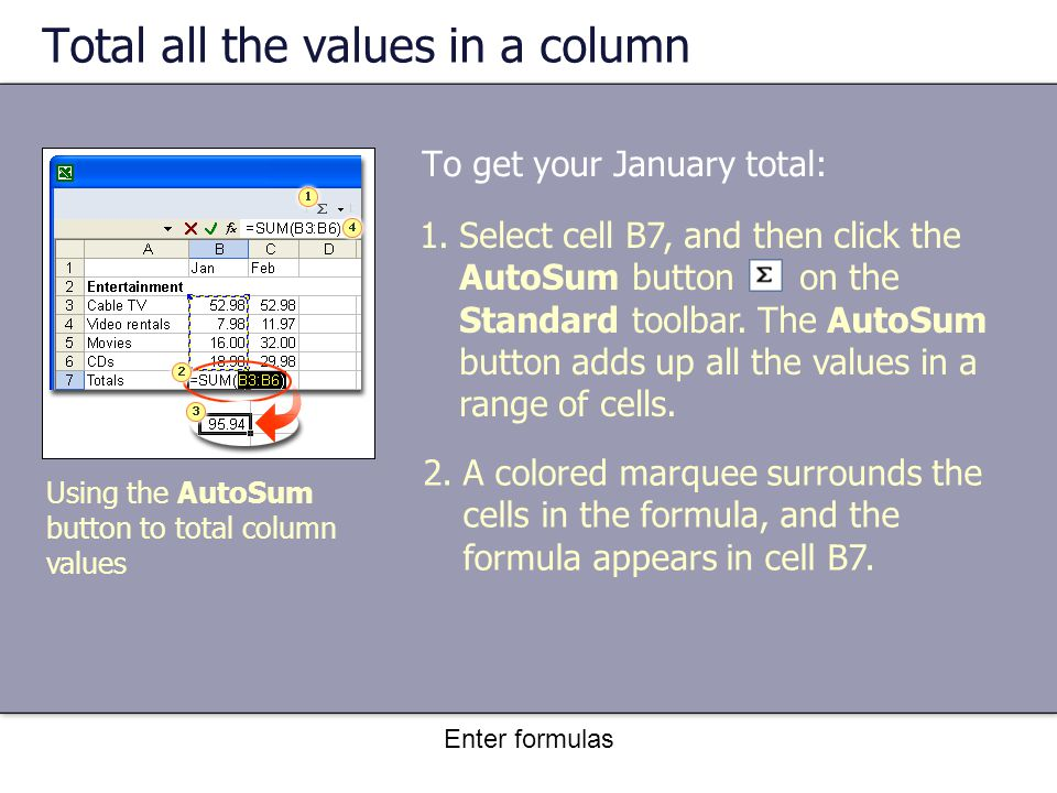 Enter formulas Total all the values in a column To get your January total: 2.A colored marquee surrounds the cells in the formula, and the formula appears in cell B7.