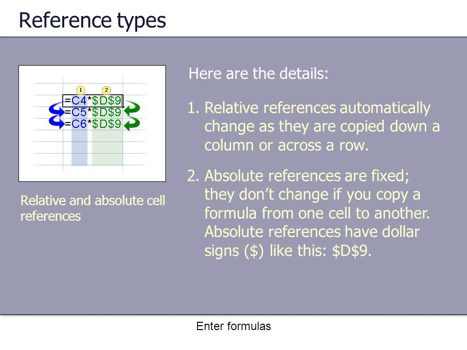 Enter formulas Reference types Relative and absolute cell references 1.Relative references automatically change as they are copied down a column or across a row.