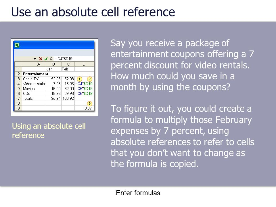 Enter formulas Use an absolute cell reference Say you receive a package of entertainment coupons offering a 7 percent discount for video rentals.