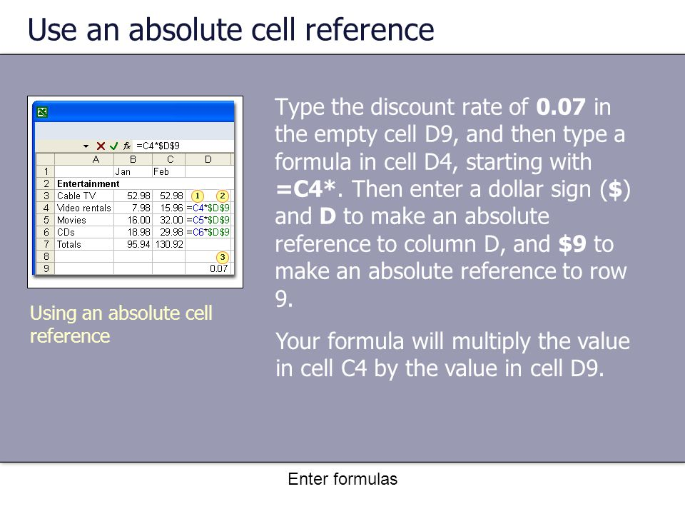 Enter formulas Use an absolute cell reference Type the discount rate of 0.07 in the empty cell D9, and then type a formula in cell D4, starting with =C4*.