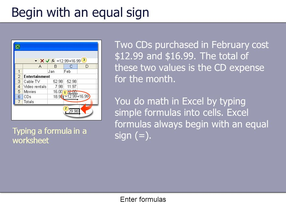 Enter formulas Begin with an equal sign Here's how to add 12.99 and 16.99 in cell C6: Typing a formula in a worksheet 1.Type the formula =12.99+16.99.